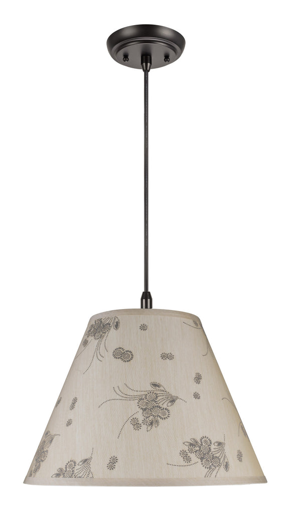 # 72150 Two-Light Hanging Pendant Ceiling Light with Transitional Hardback Fabric Lamp Shade, Beige - Floral Design, 15