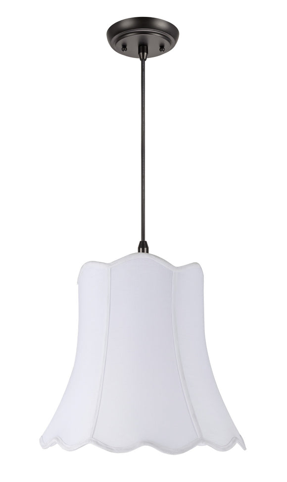 # 74001 2-Light Hanging Pendant Ceiling Light with Transitional Scallop Bell Fabric Lamp Shade, in a White Cotton, 16