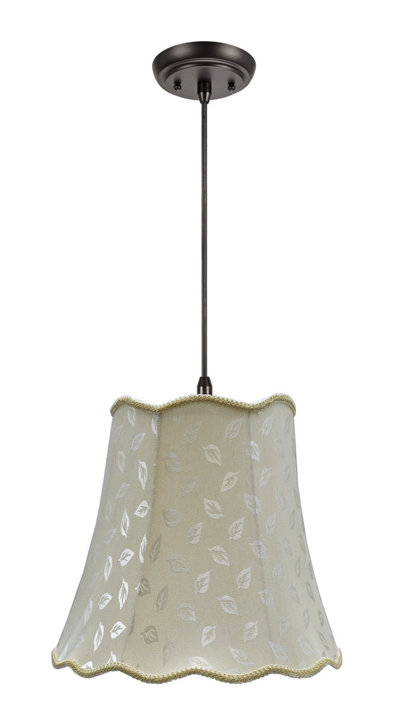 # 74003 2-Light Hanging Pendant Ceiling Light with Transitional Scallop Bell Fabric Lamp Shade, Butter Creme - Design, 16
