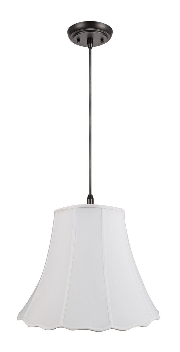 # 74005 2-Light Hanging Pendant Ceiling Light with Transitional Scallop Bell Fabric Lamp Shade, in White Linen, 20