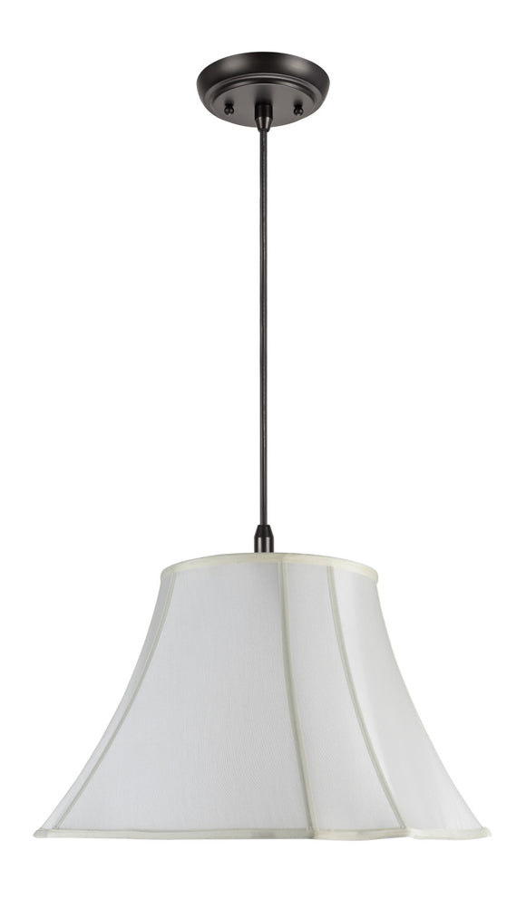 # 74006 2-Light Hanging Pendant Ceiling Light with Transitional Scallop Bell Fabric Lamp Shade, Off White Faux Silk, 18