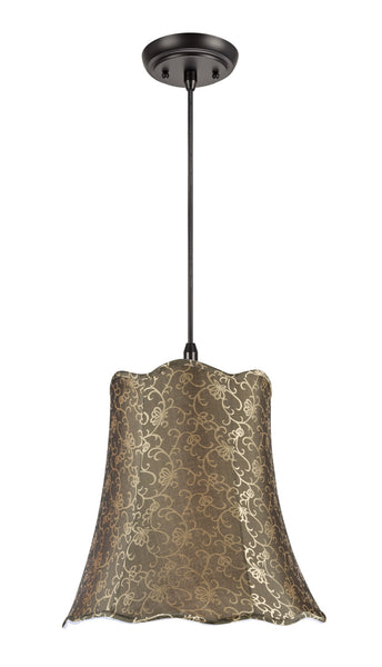 "# 74007 2-Light Hanging Pendant Ceiling Light with Transitional Scallop Bell Fabric Lamp Shade, Textured Light Gold, 16"" W"