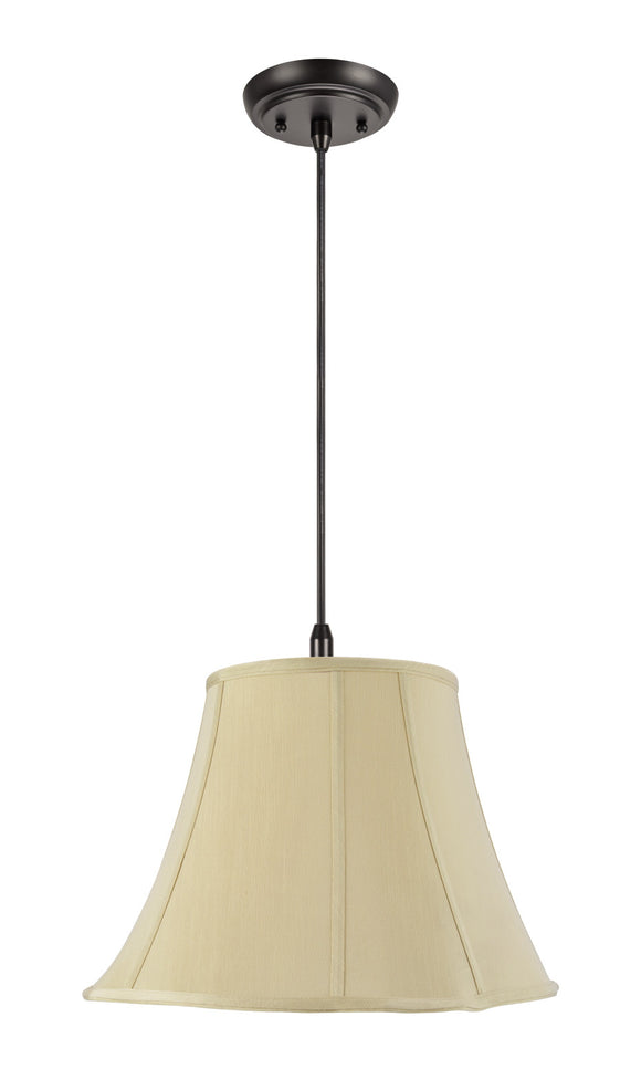 # 74016 2-Light Hanging Pendant Ceiling Light with Transitional Scallop Bell Fabric Lamp Shade, in a Beige Sateen, 16