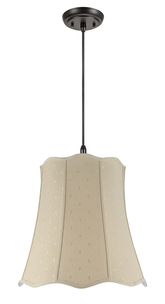 # 74026 2-Light Hanging Pendant Ceiling Light with Transitional Scallop Bell Fabric Lamp Shade, Beige Textured, 20