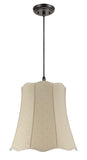 "# 74026 2-Light Hanging Pendant Ceiling Light with Transitional Scallop Bell Fabric Lamp Shade, Beige Textured, 20"" W"
