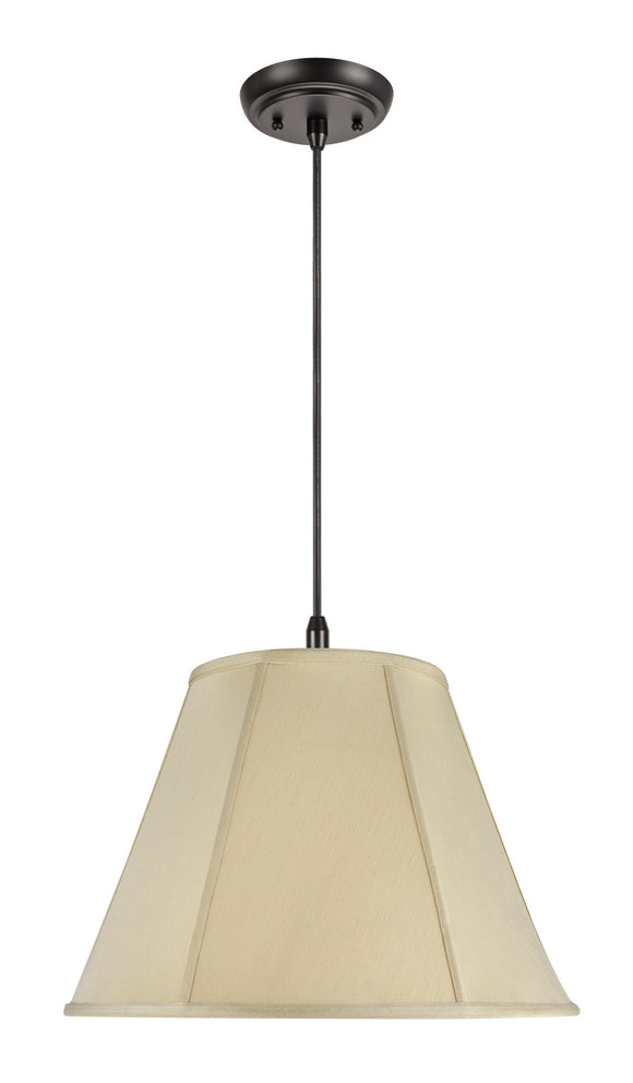 # 75001  2-Light Hanging Pendant Ceiling Light with Transitional Hexagon Bell Fabric Lamp Shade, in Beige Sateen, 18