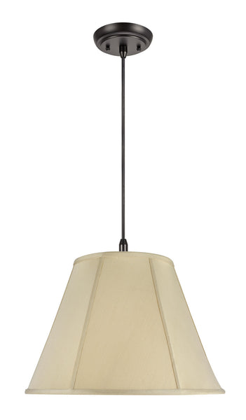 "# 75001  2-Light Hanging Pendant Ceiling Light with Transitional Hexagon Bell Fabric Lamp Shade, in Beige Sateen, 18"" W"