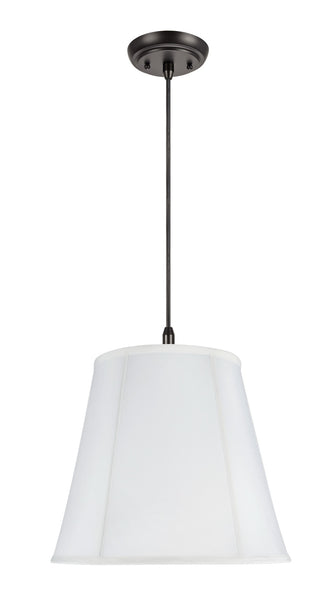 "# 75002 2-Light Hanging Pendant Ceiling Light with Transitional Hexagon Bell Fabric Lamp Shade, Off White Cotton, 16"" W"