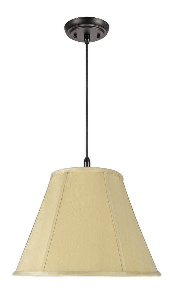 # 75004 2-Light Hanging Pendant Ceiling Light with Transitional Hexagon Bell Fabric Lamp Shade, in a Beige Sateen, 16