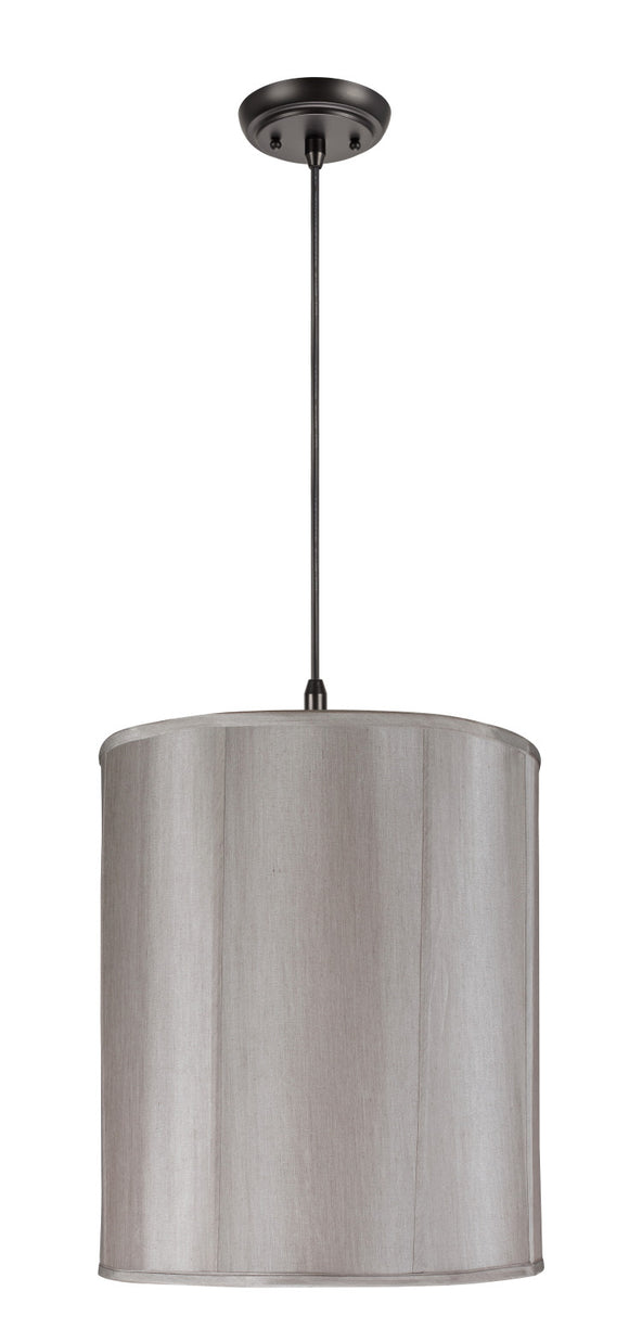 # 75007  2-Light Hanging Pendant Ceiling Light with Transitional Drum Fabric Lamp Shade, in Silver Grey Faux Silk, 18