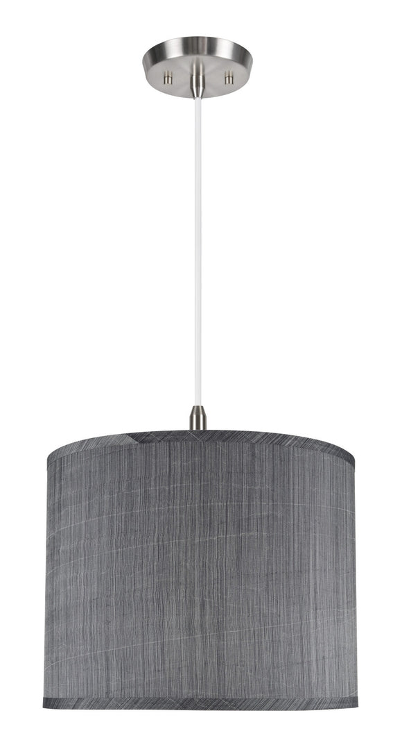 # 71014  1-Light Hanging Pendant Ceiling Light with Transitional Hardback Drum Fabric Lamp Shade, Grey & Black, 14