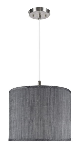 "# 71014  1-Light Hanging Pendant Ceiling Light with Transitional Hardback Drum Fabric Lamp Shade, Grey & Black, 14"" W"
