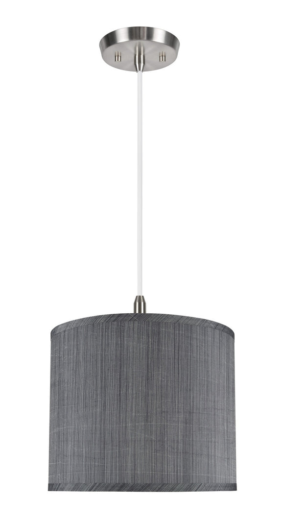 # 71015 1-Light Hanging Pendant Ceiling Light with Transitional Hardback Drum Fabric Lamp Shade, Grey & Black, 12