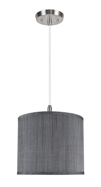 "# 71015 1-Light Hanging Pendant Ceiling Light with Transitional Hardback Drum Fabric Lamp Shade, Grey & Black, 12"" W"