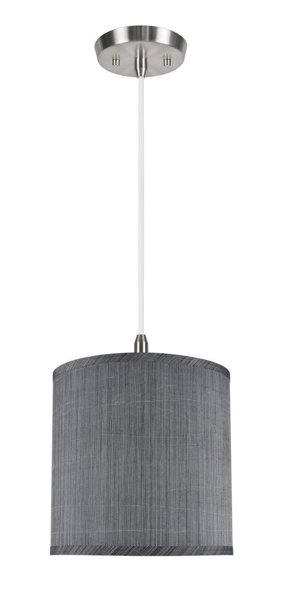 # 71016 1-Light Hanging Pendant Ceiling Light with Transitional Hardback Drum Fabric Lamp Shade, Grey & Black, 10