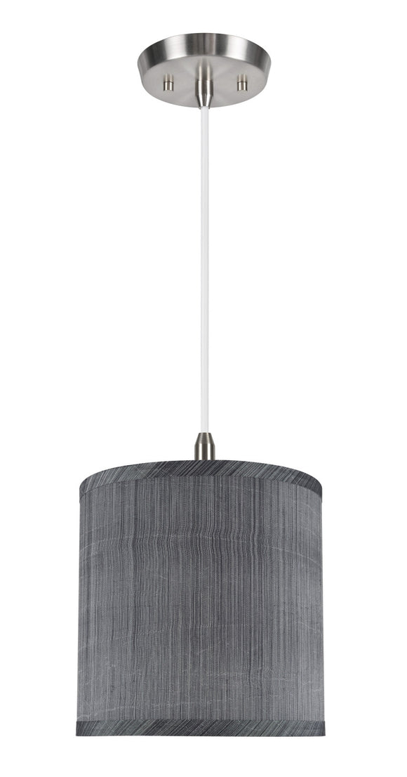 # 71017 1-Light Hanging Pendant Ceiling Light with Transitional Hardback Drum Fabric Lamp Shade, Grey & Black, 8