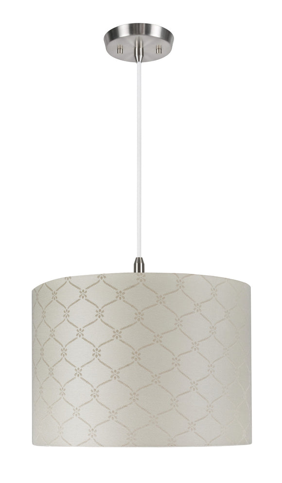 # 71021 2-Light Hanging Pendant Ceiling Light with Transitional Hardback Drum Fabric Lamp Shade, Textured Beige, 16