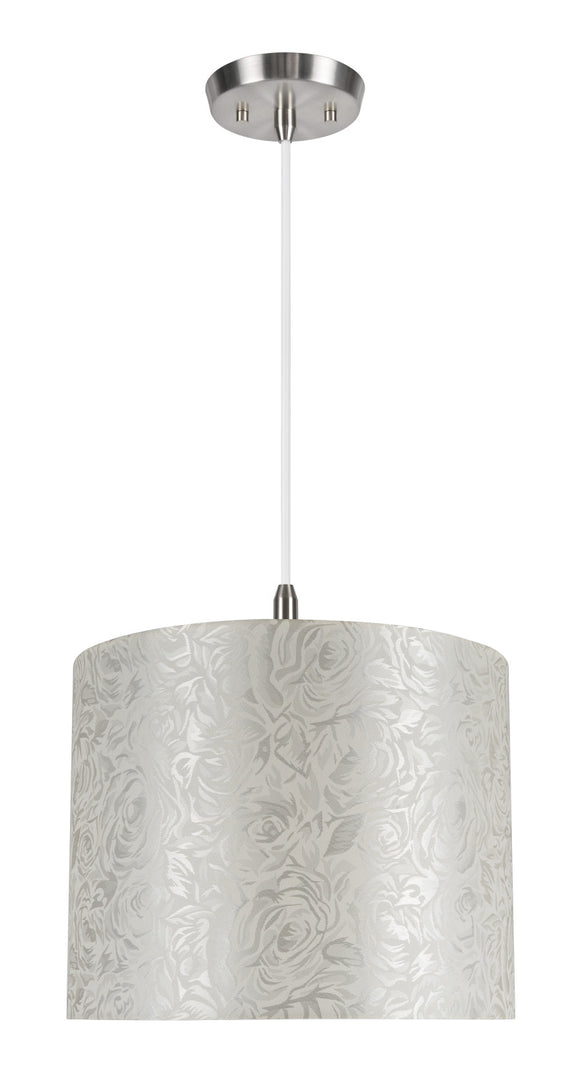 # 71022 1-Light Hanging Pendant Ceiling Light with Transitional Hardback Drum Fabric Lamp Shade, Off White, 14