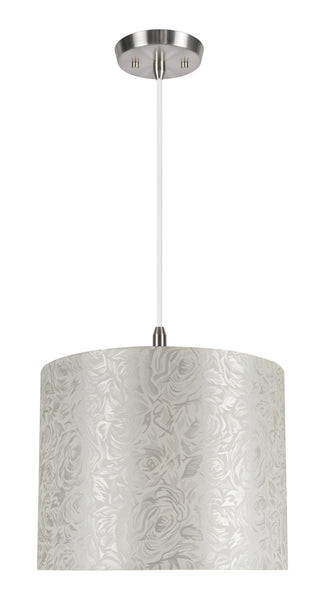 "# 71022 1-Light Hanging Pendant Ceiling Light with Transitional Hardback Drum Fabric Lamp Shade, Off White, 14"" W"