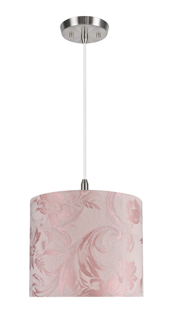 # 71023 1-Light Hanging Pendant Ceiling Light with Transitional Hardback Drum Fabric Lamp Shade, Pink with Design, 12