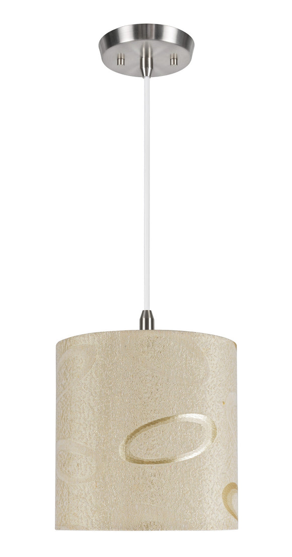 # 71024 1-Light Hanging Pendant Ceiling Light with Transitional Hardback Drum Fabric Lamp Shade, Beige with Design, 8