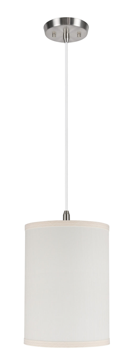 # 71025  1-Light Hanging Pendant Ceiling Light with Transitional Hardback Drum Fabric Lamp Shade, Off White, 8