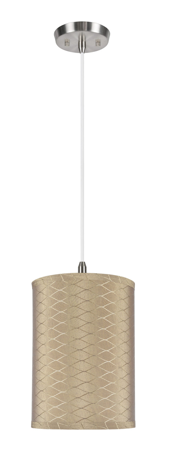 # 71028 1-Light Hanging Pendant Ceiling Light with Transitional Hardback Drum Fabric Lamp Shade, Light Brown, 8
