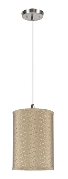 "# 71028 1-Light Hanging Pendant Ceiling Light with Transitional Hardback Drum Fabric Lamp Shade, Light Brown, 8"" W"