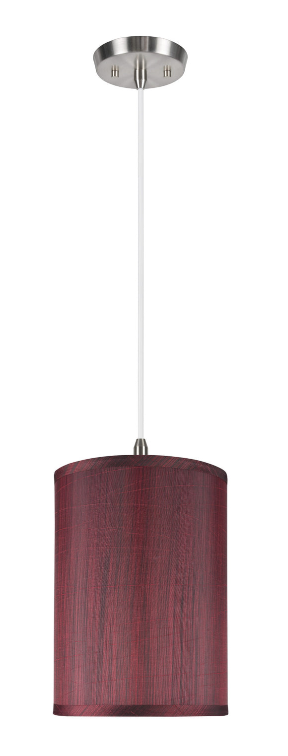 # 71034 1-Light Hanging Pendant Ceiling Light with Transitional Hardback Drum Fabric Lamp Shade, in  Dark Red, 8