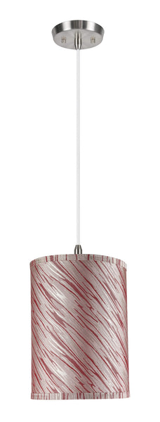 "# 71035  1-Light Hanging Pendant Light with Transitional Hardback Drum Fabric Lamp Shade, Off-White - Red Striping, 8"" W"