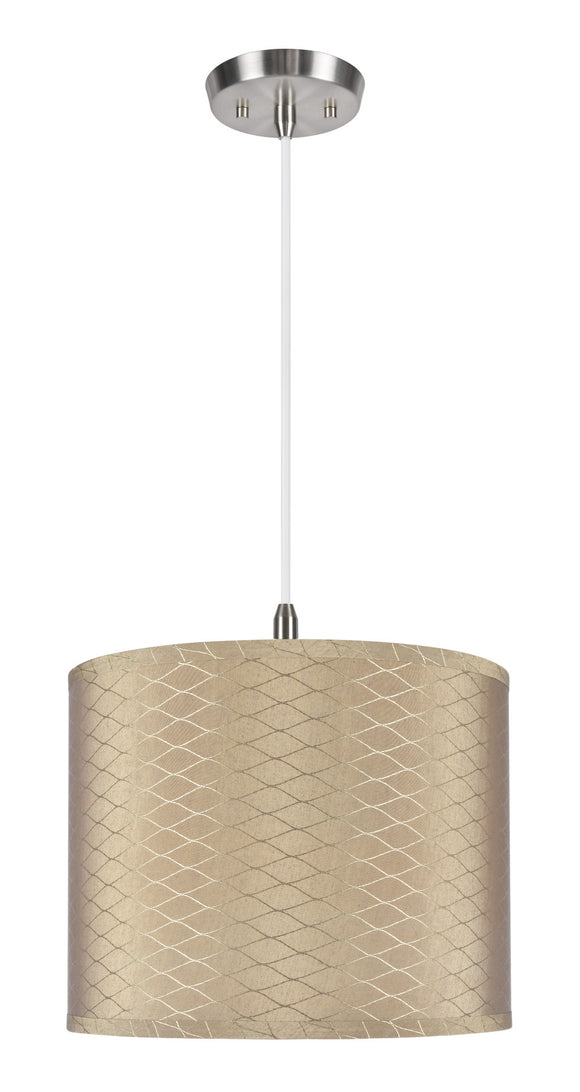 # 71036  1-Light Hanging Pendant Ceiling Light with Transitional Hardback Drum Fabric Lamp Shade, Light Brown, 14
