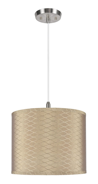 "# 71036  1-Light Hanging Pendant Ceiling Light with Transitional Hardback Drum Fabric Lamp Shade, Light Brown, 14"" W"