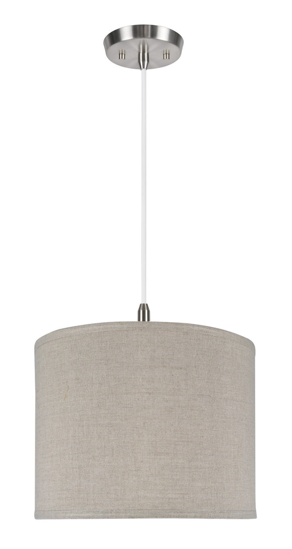 # 71037  1-Light Hanging Pendant Ceiling Light with Transitional Hardback Drum Fabric Lamp Shade, Grey Linen, 14