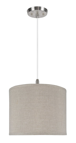 "# 71037  1-Light Hanging Pendant Ceiling Light with Transitional Hardback Drum Fabric Lamp Shade, Grey Linen, 14"" W"