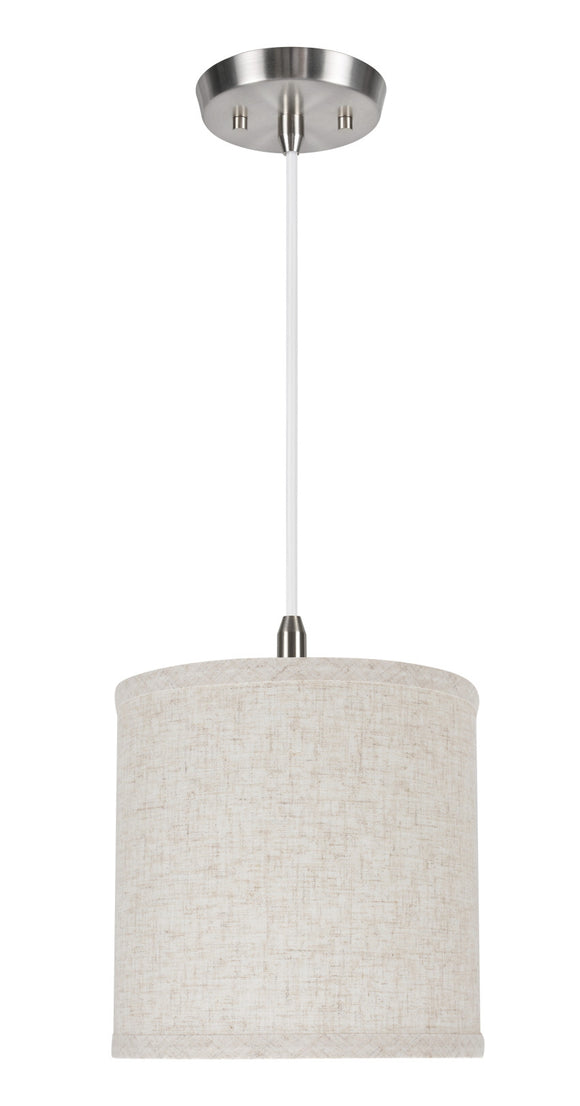 # 71051 1-Light Hanging Pendant Ceiling Light with Transitional Hardback Drum Fabric Lamp Shade, Flaxen Linen, 8