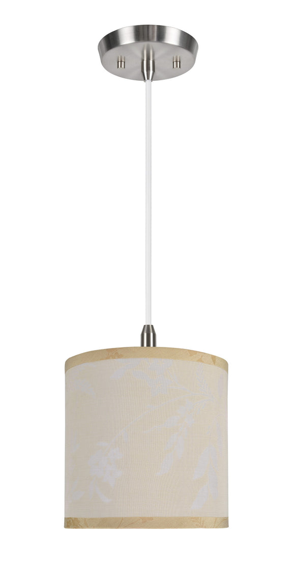 # 71052  1-Light Hanging Pendant Ceiling Light with Transitional Hardback Drum Fabric Lamp Shade, Off White, 8