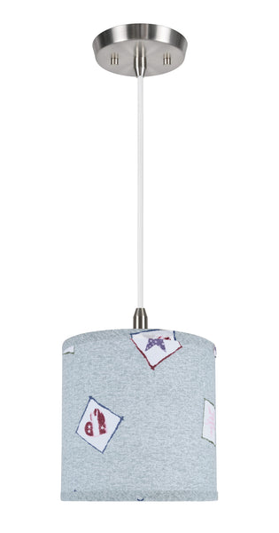 "# 71053  1-Light Hanging Pendant Light with Transitional Hardback Drum Fabric Lamp Shade, Light Blue - Patriotic Accents, 8"" W"