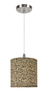 "# 71054  1-Light Hanging Pendant Ceiling Light with Transitional Hardback Drum Fabric Lamp Shade, Leopard Pattern, 8"" W"