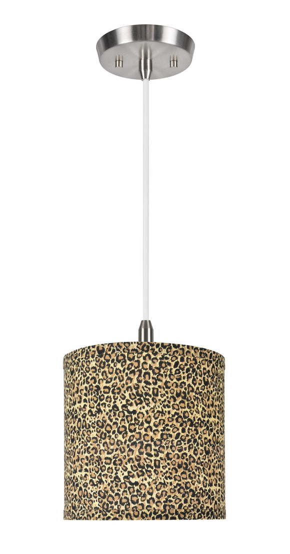 # 71054  1-Light Hanging Pendant Ceiling Light with Transitional Hardback Drum Fabric Lamp Shade, Leopard Pattern, 8