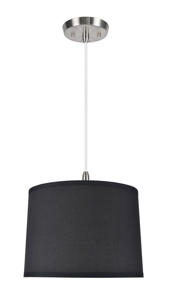 # 71066  1-Light Hanging Pendant Ceiling Light with Transitional Hardback Drum Fabric Lamp Shade, Black Cotton, 14