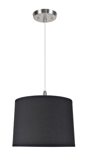 "# 71066  1-Light Hanging Pendant Ceiling Light with Transitional Hardback Drum Fabric Lamp Shade, Black Cotton, 14"" W"