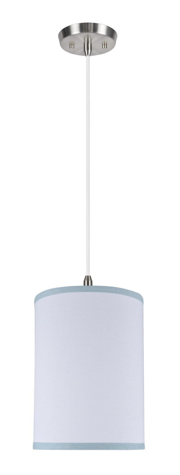 # 71111 1-Light Hanging Pendant Ceiling Light with Transitional Hardback Drum Fabric Lamp Shade, White, Blue Trim, 8
