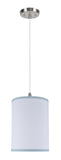 "# 71111 1-Light Hanging Pendant Ceiling Light with Transitional Hardback Drum Fabric Lamp Shade, White, Blue Trim, 8"" W"