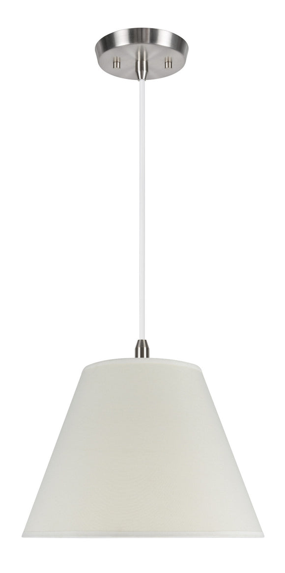 # 72007 1-Light Hanging Pendant Ceiling Light with Transitional Hardback Fabric Lamp Shade, Off White Cotton, 12