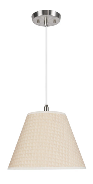 "# 72008 1-Light Hanging Pendant Ceiling Light with Transitional Hardback Fabric Lamp Shade, Gold with Design, 12"" W"