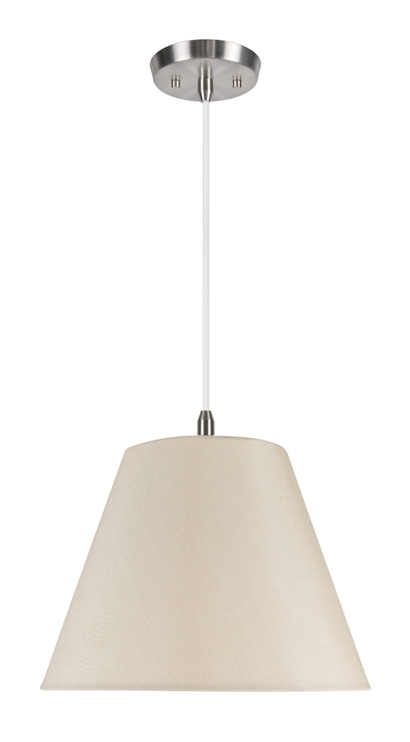 # 72010 1-Light Hanging Pendant Ceiling Light with Transitional Hardback Fabric Lamp Shade, Ivory Textured Sateen, 14