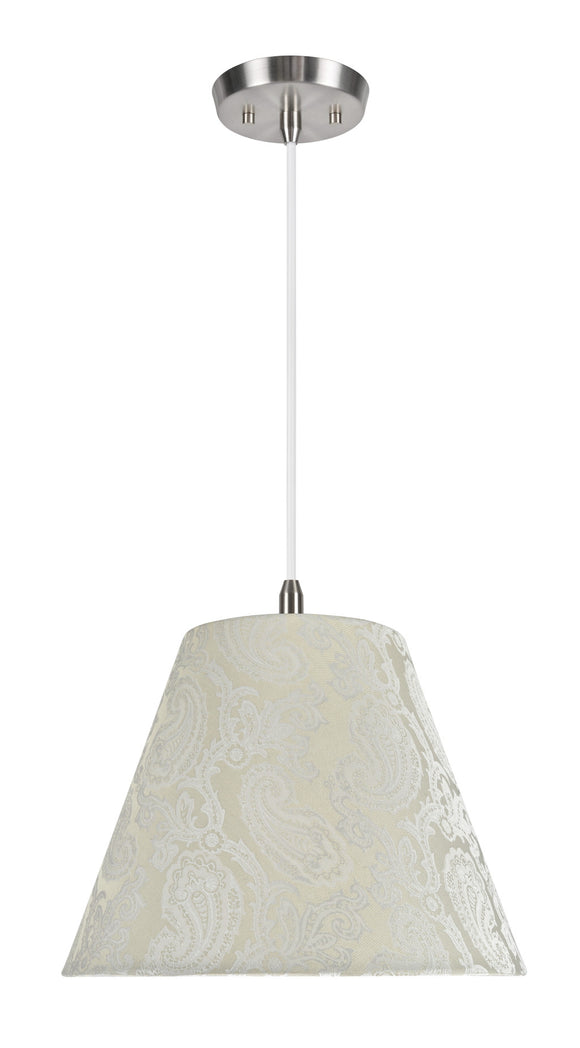 # 72011 1-Light Hanging Pendant Ceiling Light with Transitional Hardback Fabric Lamp Shade, Taupe with Design, 14