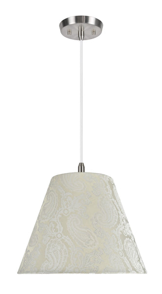 "# 72011 1-Light Hanging Pendant Ceiling Light with Transitional Hardback Fabric Lamp Shade, Taupe with Design, 14"" W"