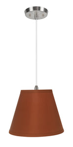 "# 72184-11 One-Light Hanging Pendant Ceiling Light with Transitional Hardback Empire Fabric Lamp Shade, Burnt Orange, 13"" width"