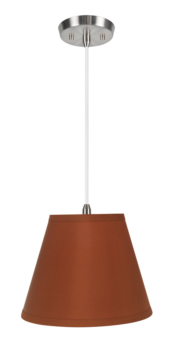 # 72184-11 One-Light Hanging Pendant Ceiling Light with Transitional Hardback Empire Fabric Lamp Shade, Burnt Orange, 13